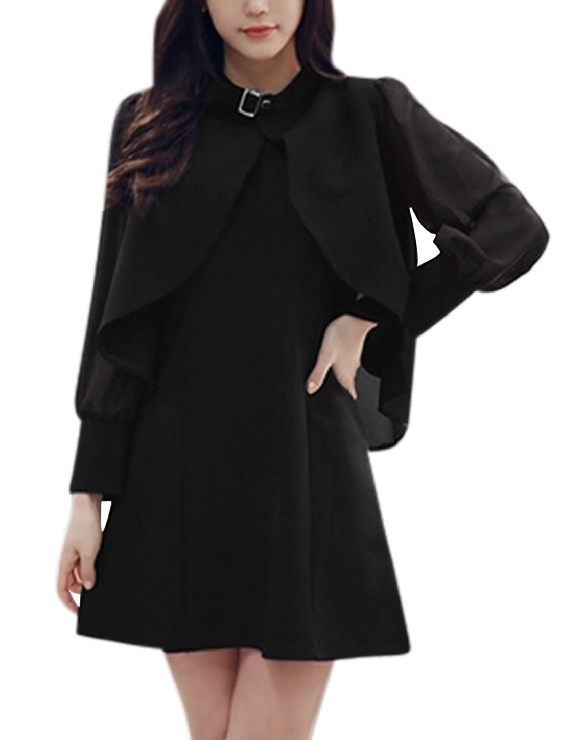 Woman Long Sleeves Chiffon Cape w Sleeveless A Line Dress Sets Black XS