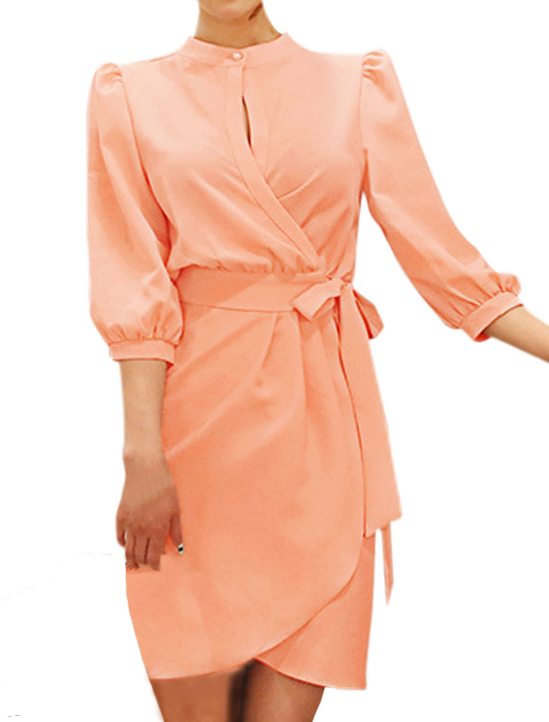 Women One Button Closure Stand Collar Unlined Wrap Dress Pale Pink S