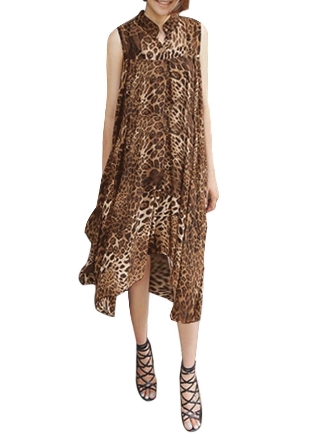 Ladies Sleeveless Semi Sheer leopard Prints Asymmetric Hem Tunic Blouse Brown XS