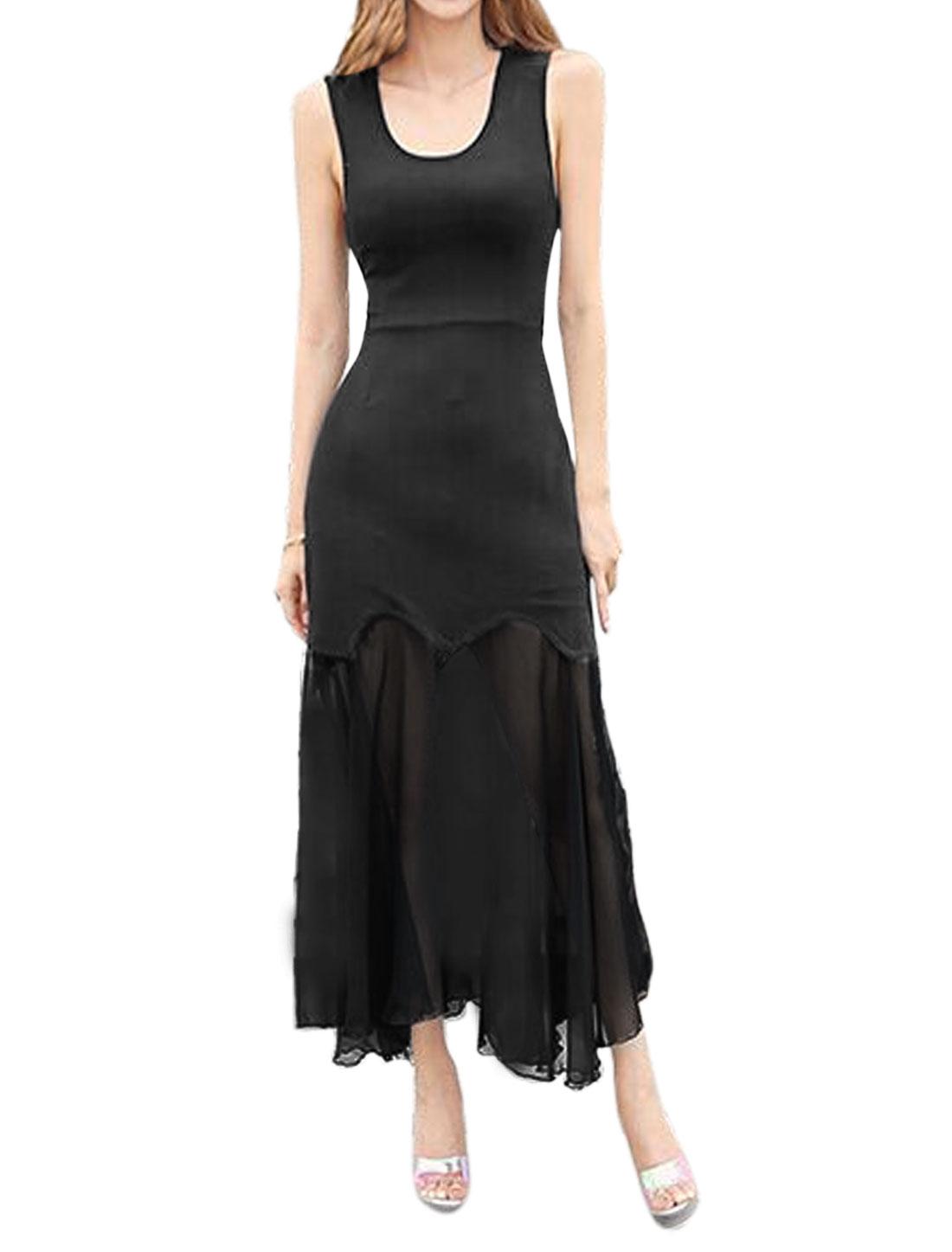 Woman Chiffon Panel Cut Out Back Sleeveless Unlined Sheath Dress Black M