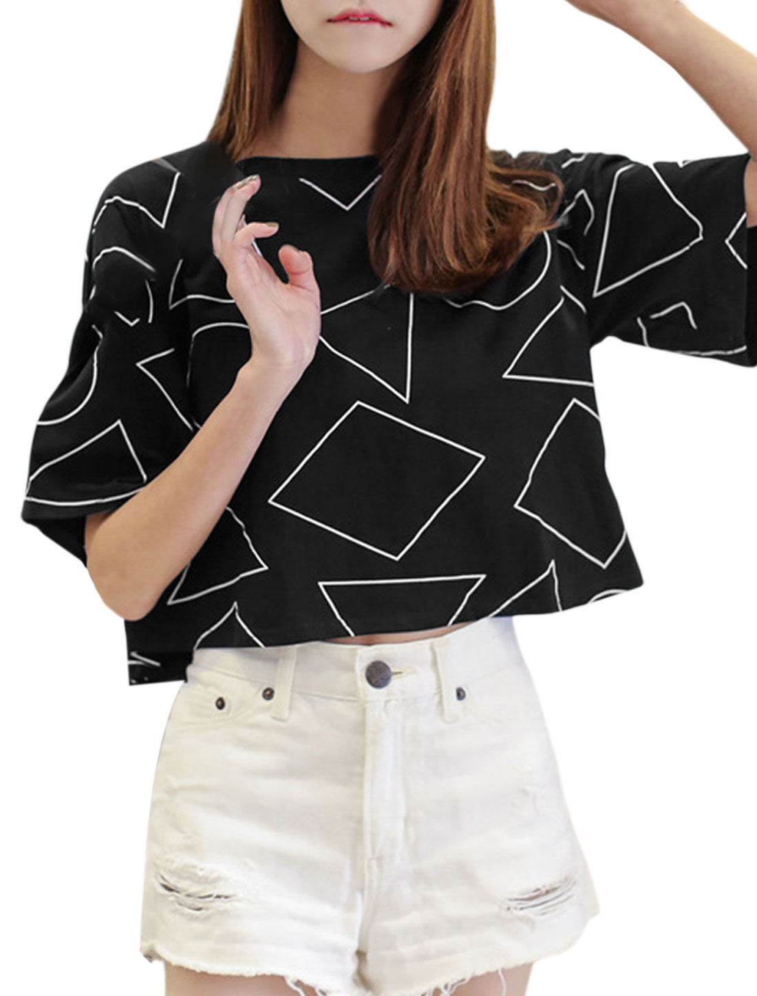Women Drop Shouler Geometric Prints Cropped Tee Black XS