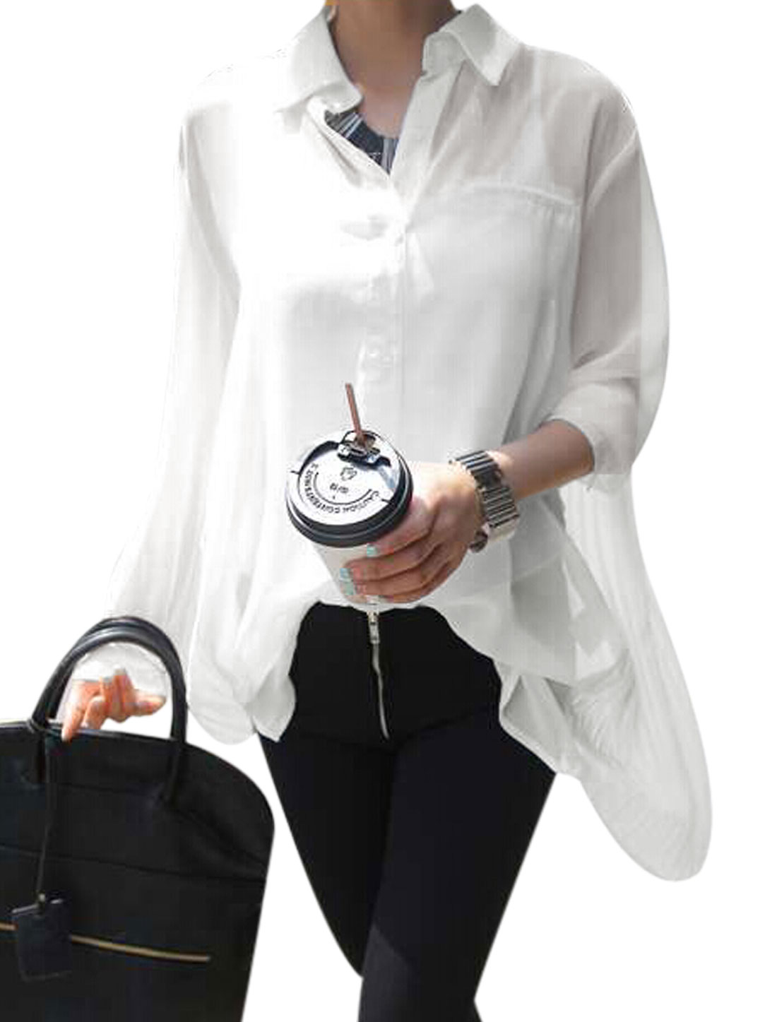 Woman Point Collar Long Sleeve Pleated Chiffon Casual Shirt White XS