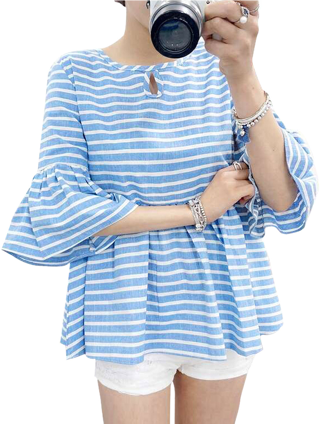 Women Bell Sleeve Round Neck Stripes Prints Casual Blouse Sky Blue XS