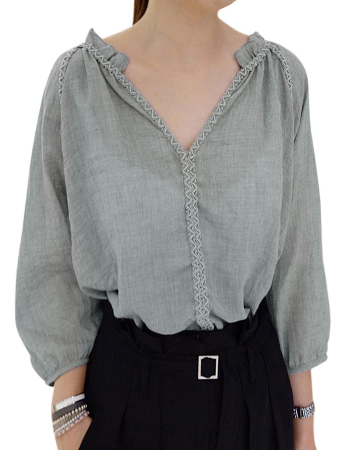 Woman Stitching Detail 3/4 Raglan Sleeves High Low Hem Top Gray S