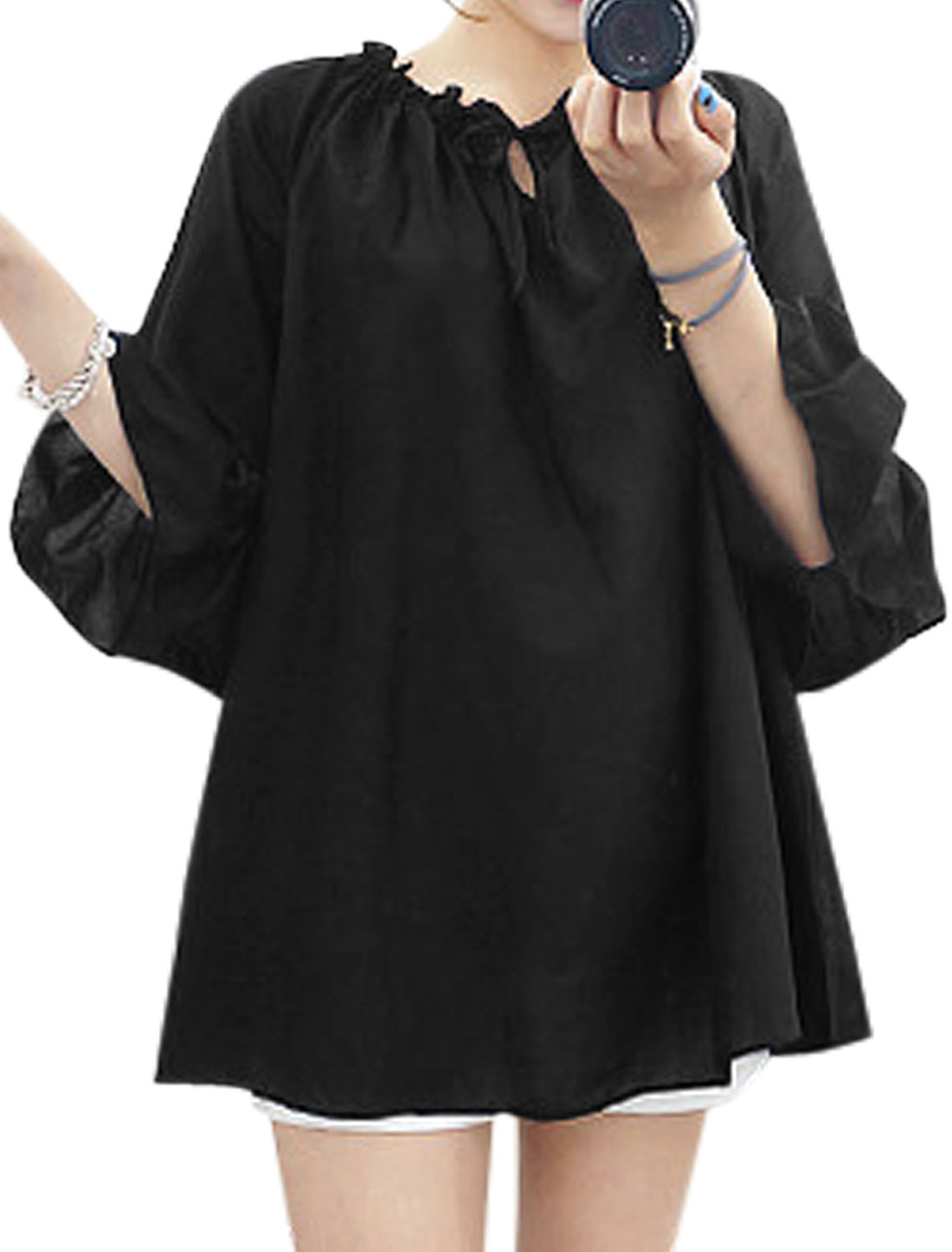 Woman Off-the-Shoulder 3/4 Flounce Sleeves Drawstring Upper Top Black XS