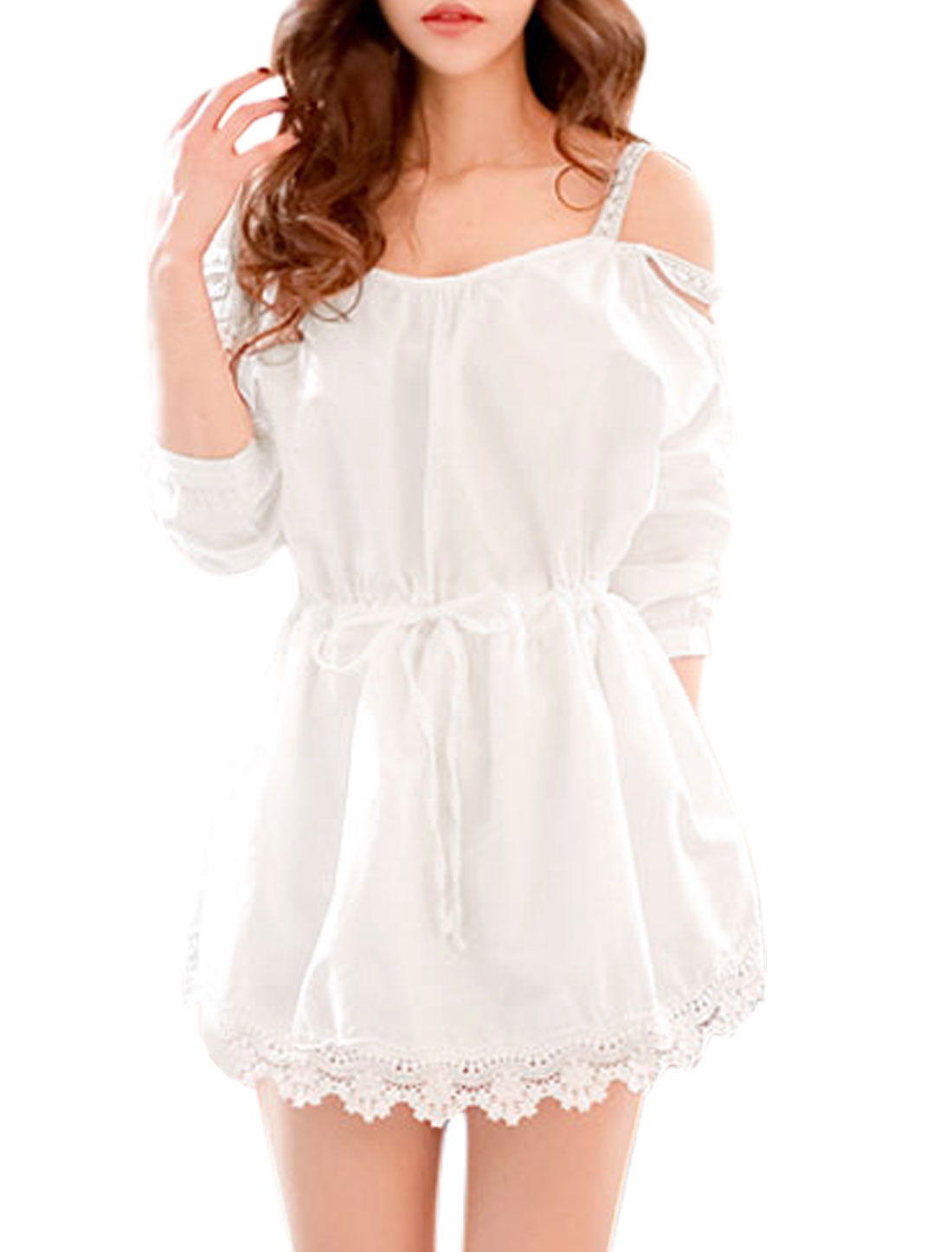 Women Scoop Neck Cut Out Shoulder Belted A Line Dress White S