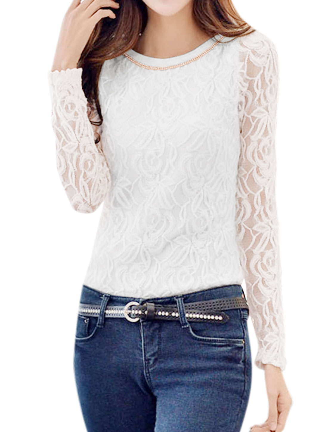Ladies Long Sleeve Round Neck Fully Lined Casual Lace T-Shirt White XS