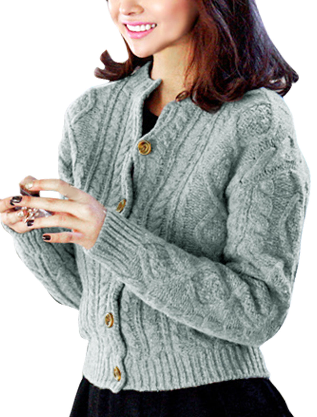 Woman Braided Design Round Neck Long Sleeves Sweater Cardigan Gray M