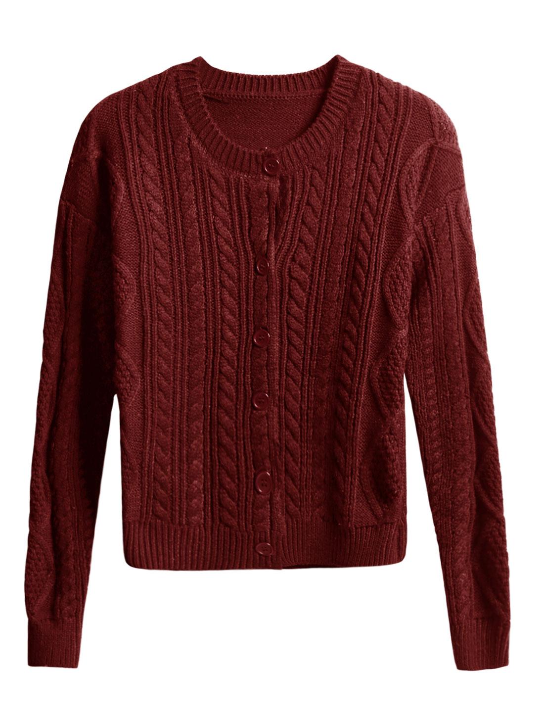 Woman Braided Design Long Sleeves Knitwear Sweater Cardigan Burgundy M
