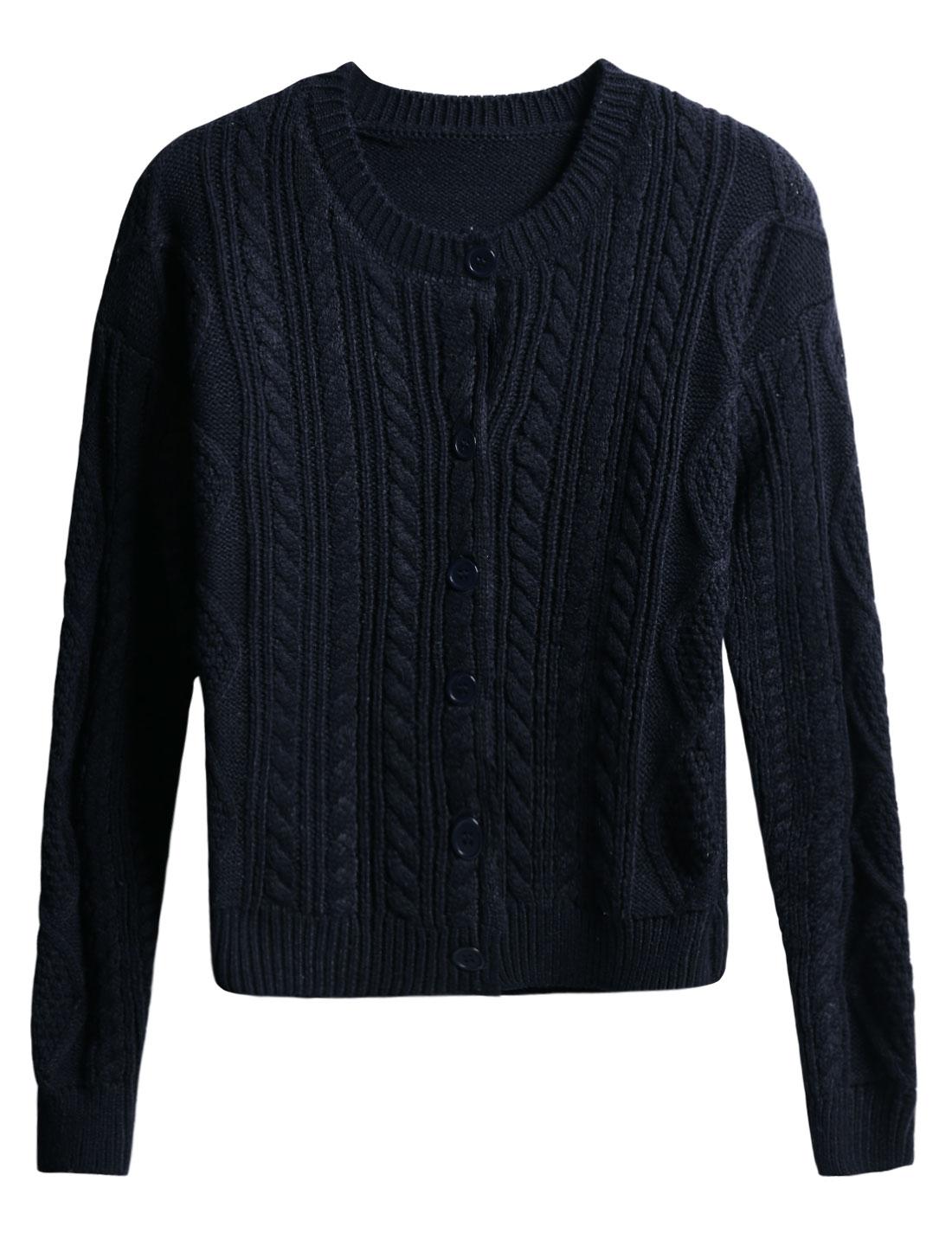 Woman Braided Design Round Neck Button Closure Sweater Cardigan Navy Blue M