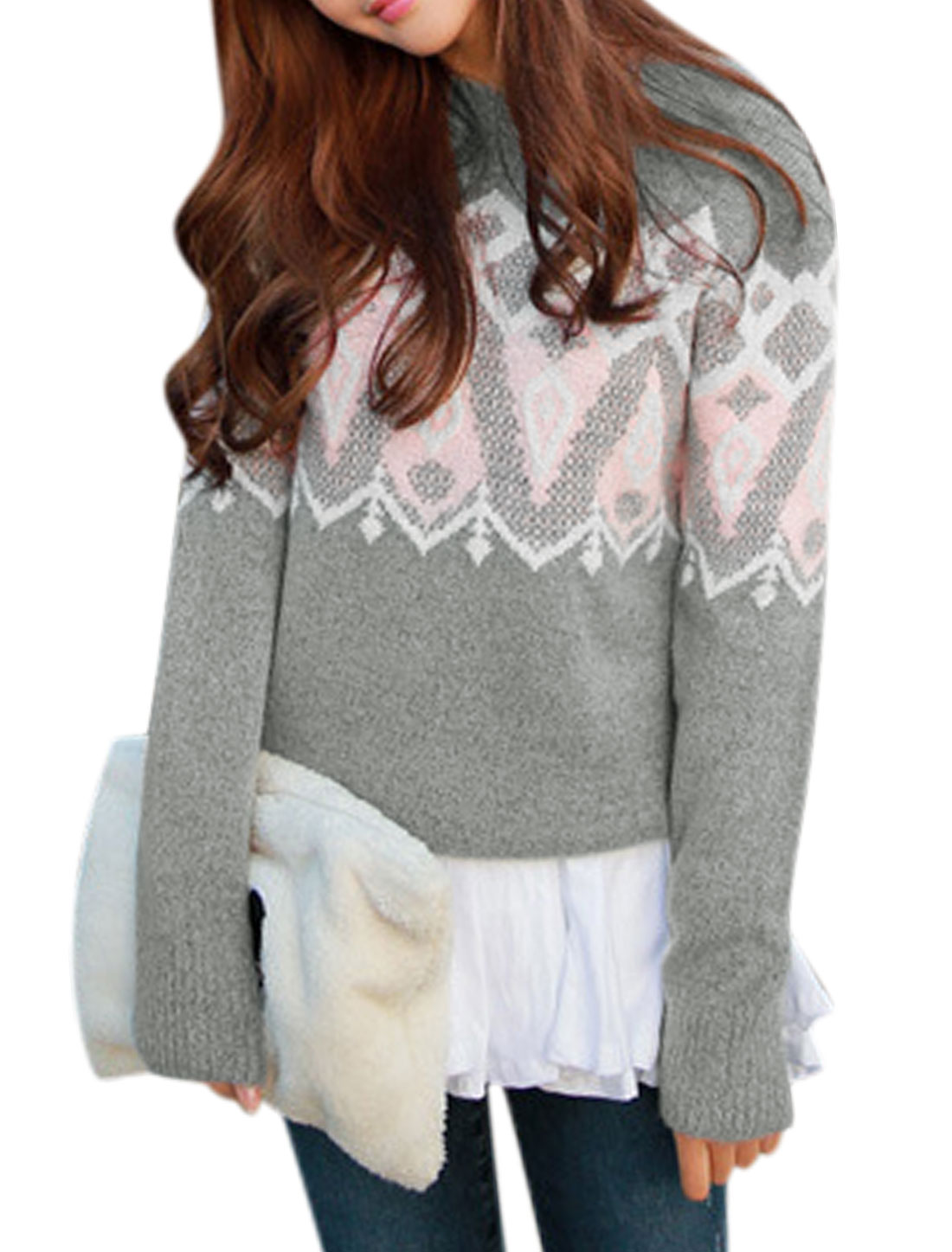 Woman Geometrical Prints Crew Neck Long Sleeves Sweater Pullover Light Gray XS