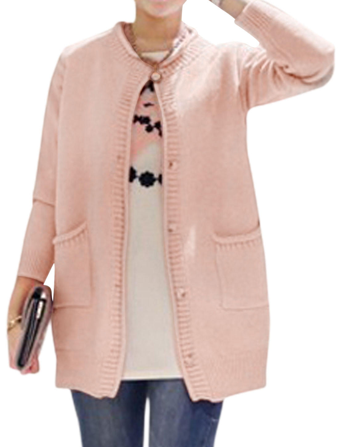 Woman Patch Design Pockets Front Long Sleeves Sweater Cardigan Pink XS