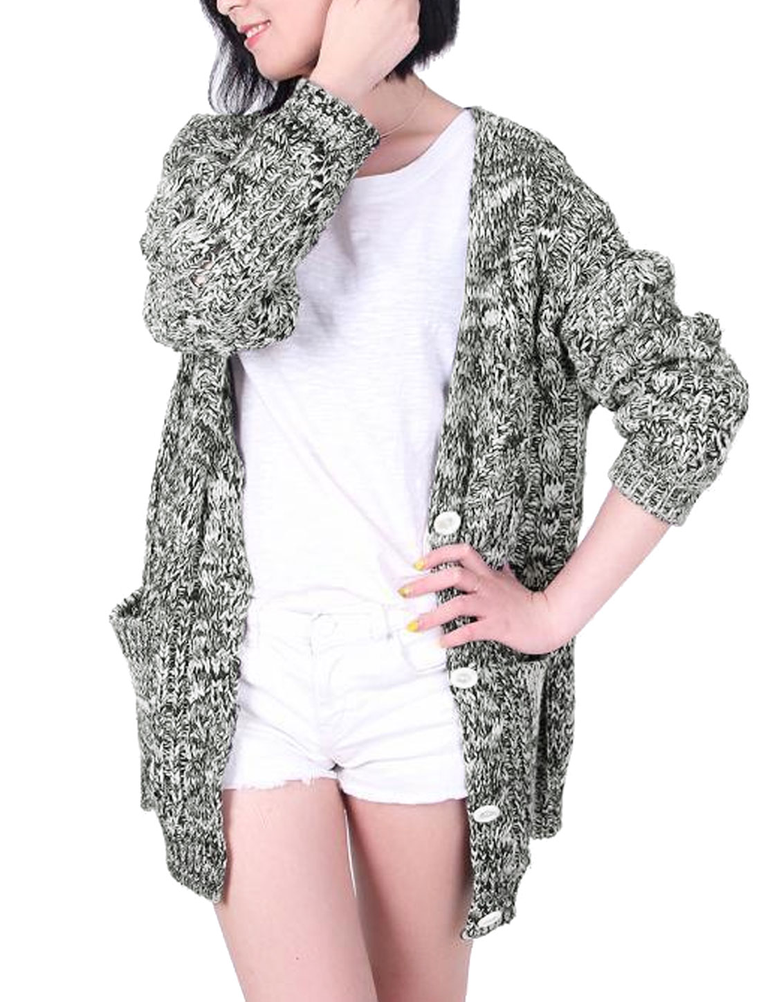 Woman Single Breasted Two Pockets Sweater Cardigan Heather Gray S