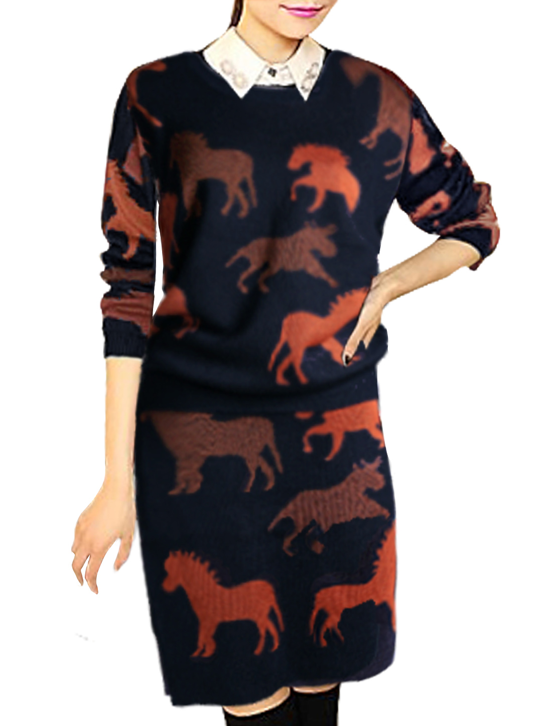 Ladies Long Sleeve Knit Shirt w Elastic Waist Knitted Skirt Sets Navy Blue M