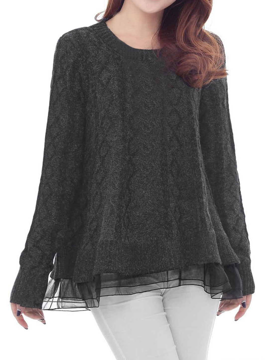 Woman Round Neck Long Sleeve Pullover Kint Sweater Dark Gray XS