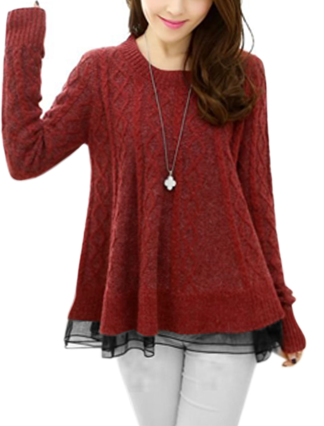 Woman Slipover Organza Panel Loose Fit Knitted Sweater Burgundy XS