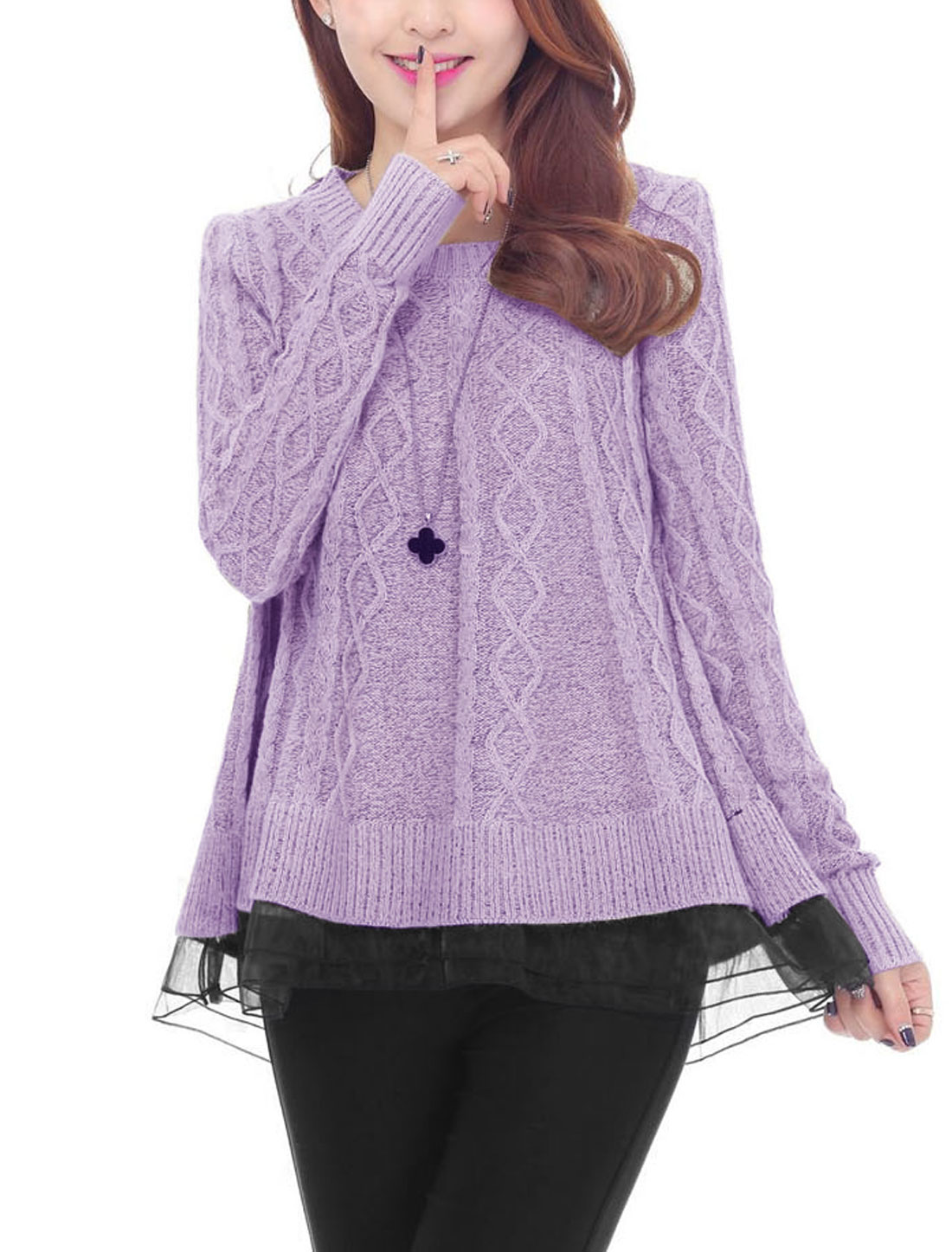 Woman Pullover Semi-Sheer Hem Full Sleeves Knit Sweater Violet XS