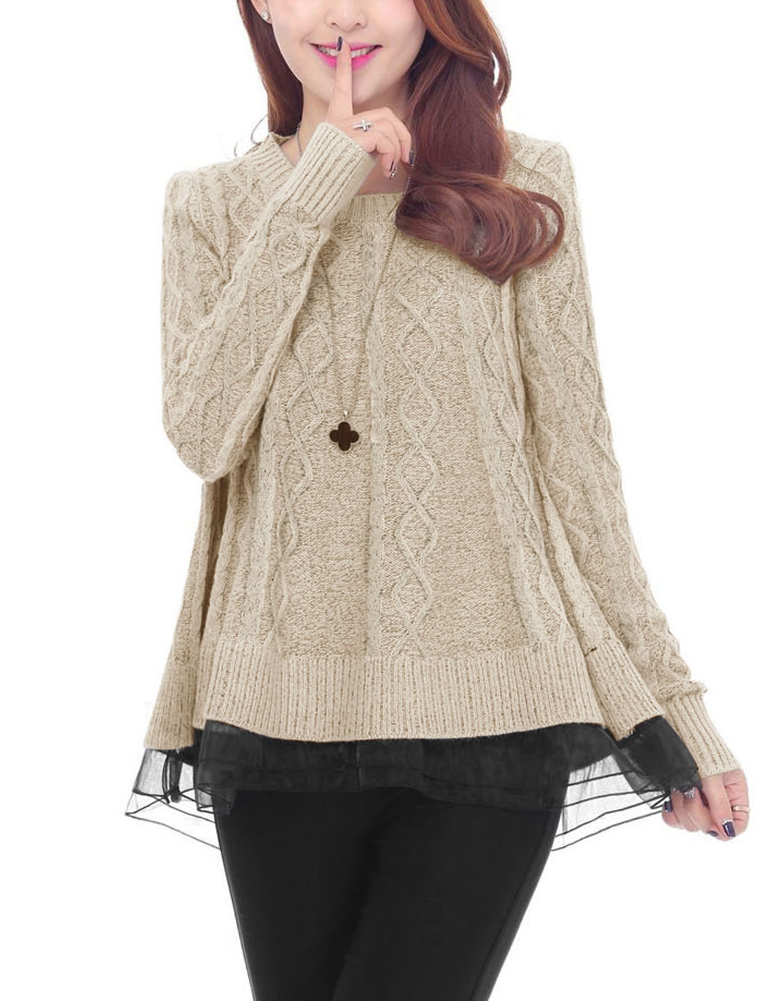 Ladies Round Neck Long Sleeve Tiered Leisure Knit Sweater Beige XS
