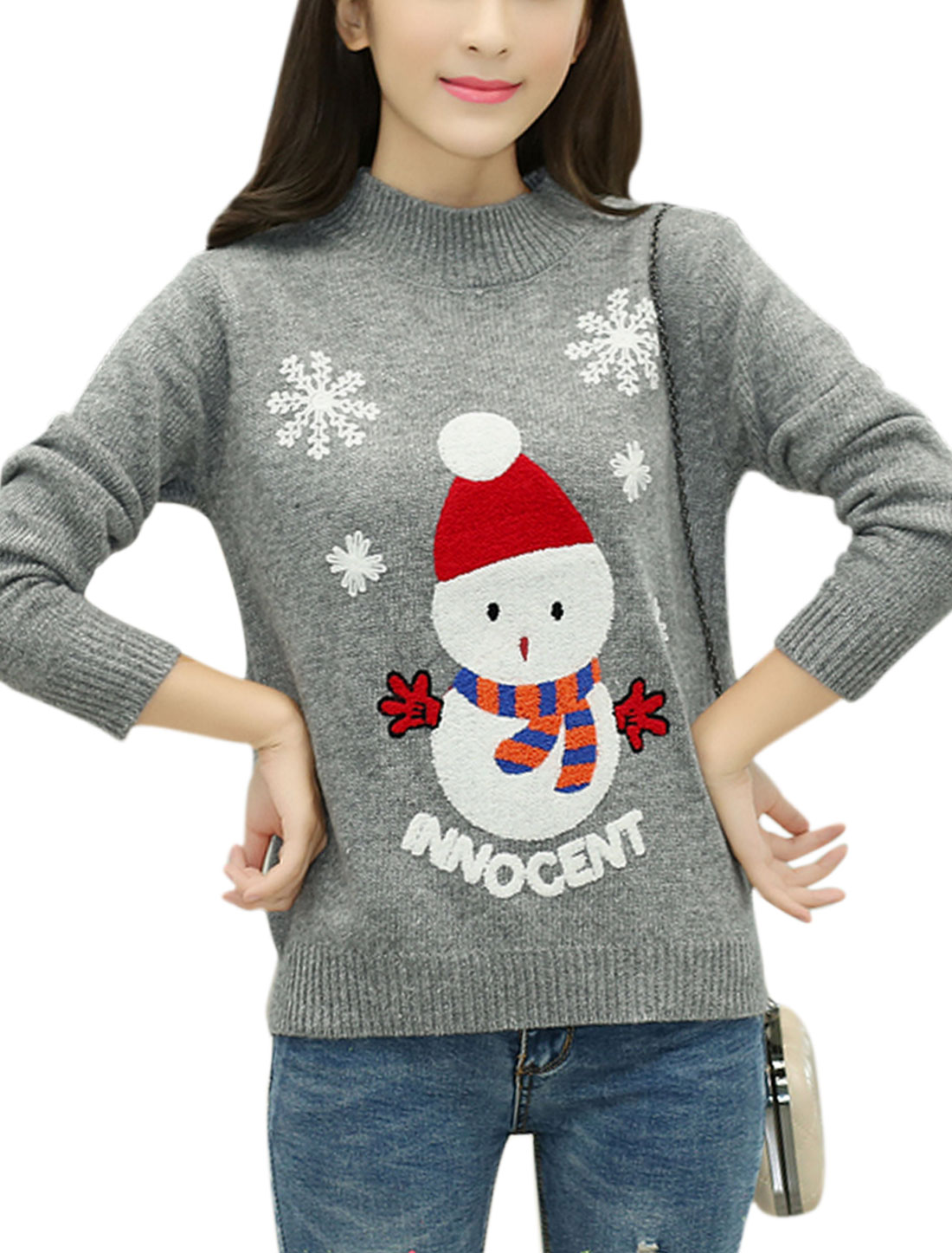 Women Snowman Letters Stitching Long Sleeves Slipover Jumper Gray XS