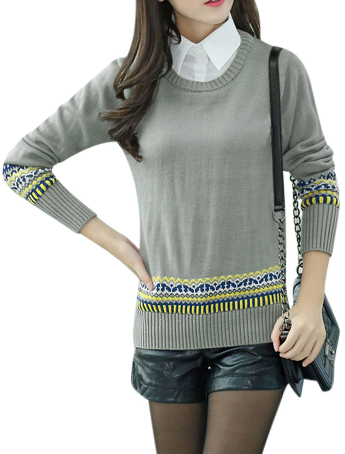 Woman Geometrical Prints Point Collar Long Sleeves Panel Knit Shirt Gray S