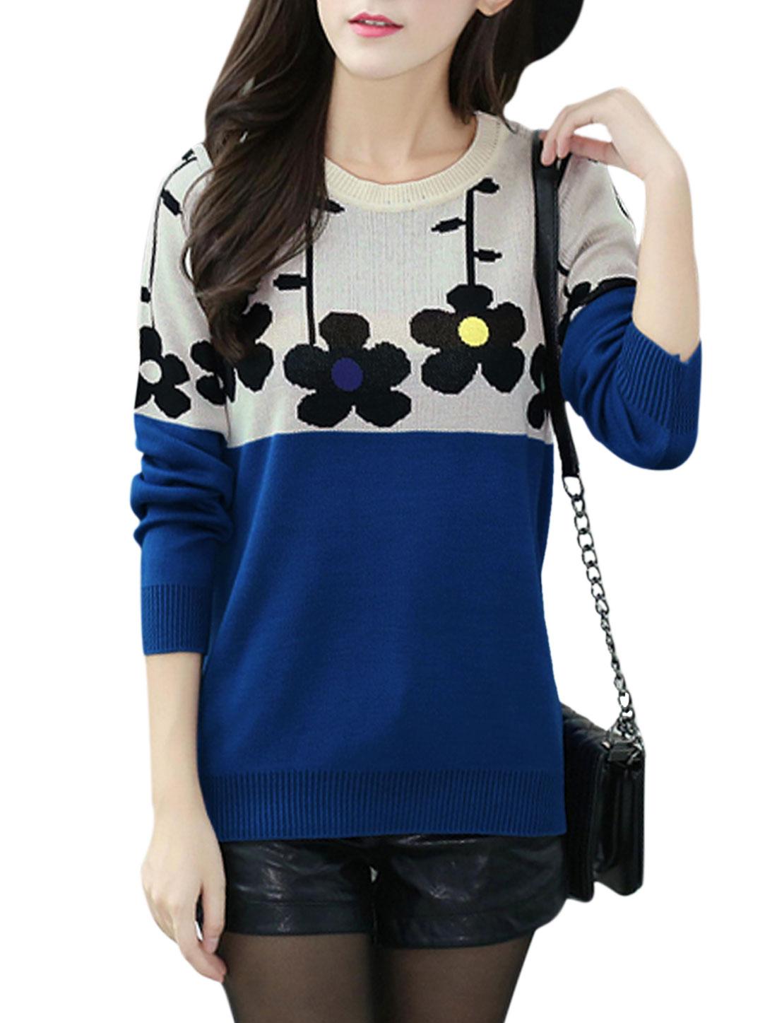 Lady Floral Prints Color Block Long Sleeves Casual Jumper Dark Blue XS