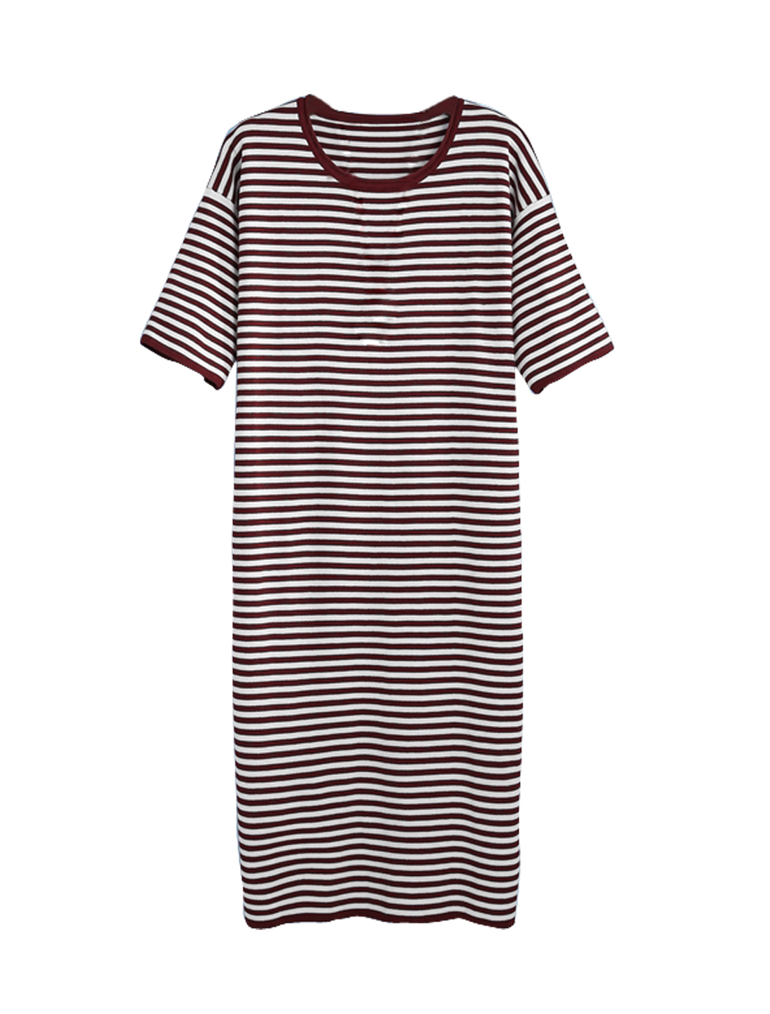 Women Stripes 3/4 Sleeves Round Neck Knitted Shift Dress Burgundy L