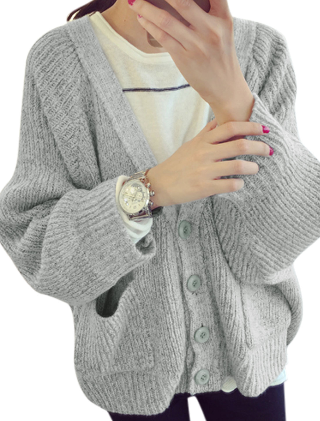 Woman Long Batwing Sleeves Four-Button Placket Sweater Cardigan Light Gray XS