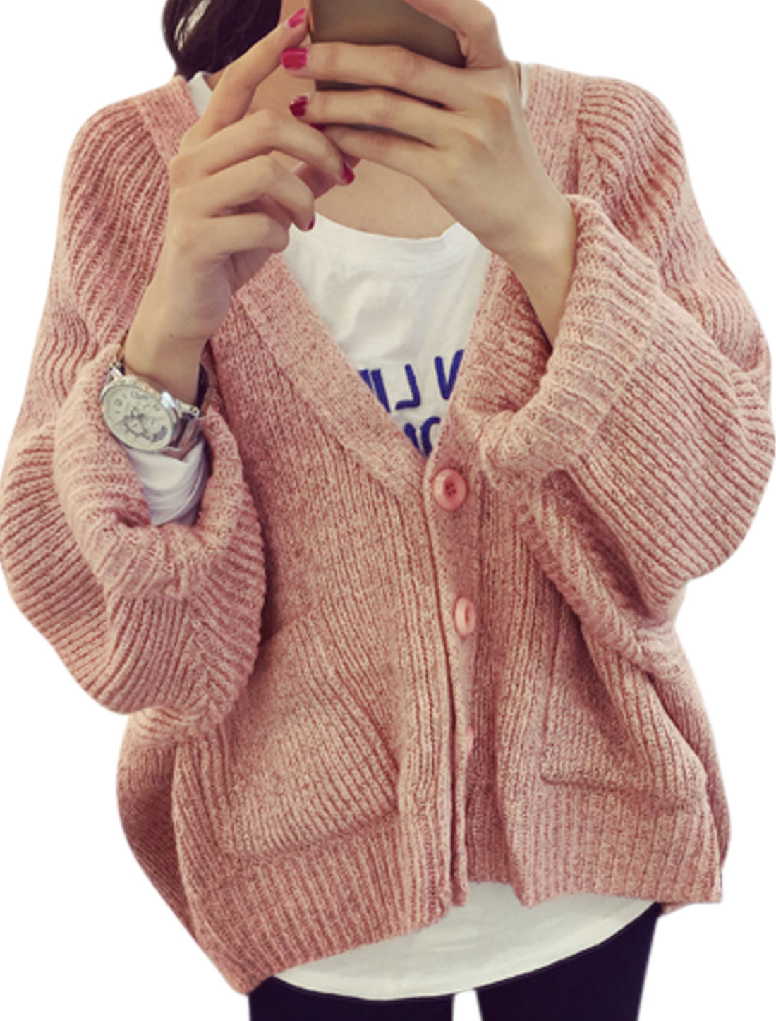 Woman Long Batwing Sleeves Deep V Neck Pockets Front Sweater Cardigan Pink XS