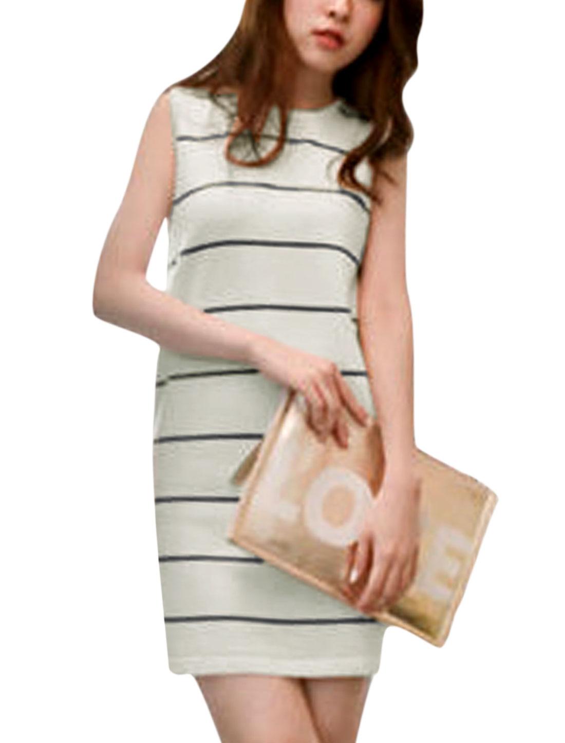 Ladies Sleeveless Round Neck Striped Slim Fit Knit Dress White XS