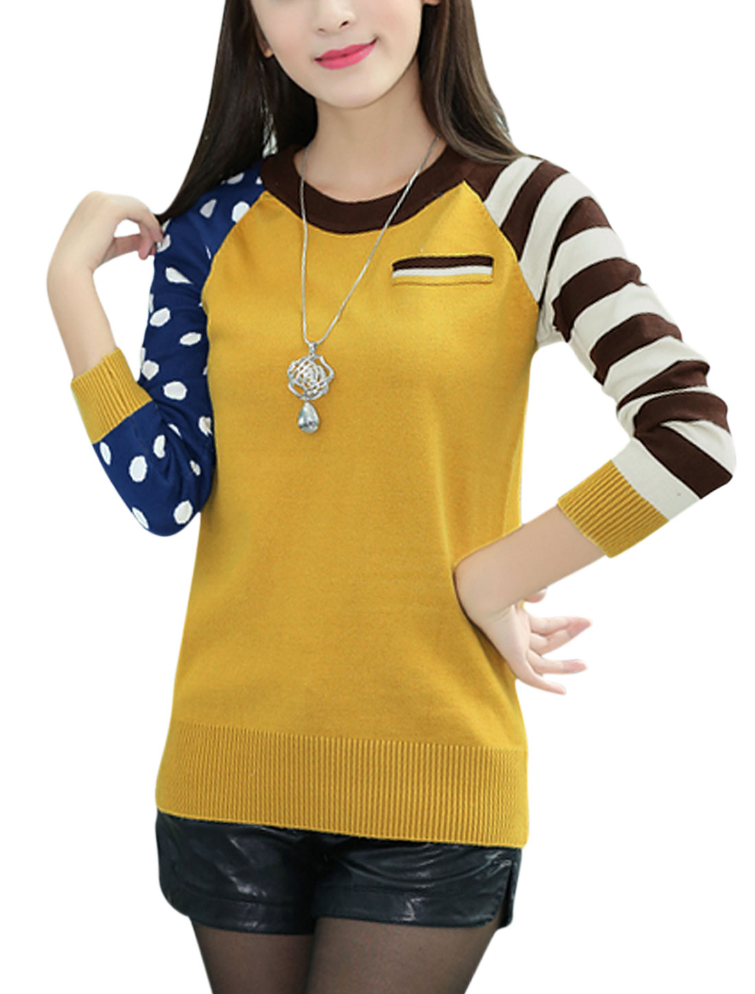 Woman Stripes Dots Prints Round Neck Long Sleeves Knitwear Pullover Yellow XS