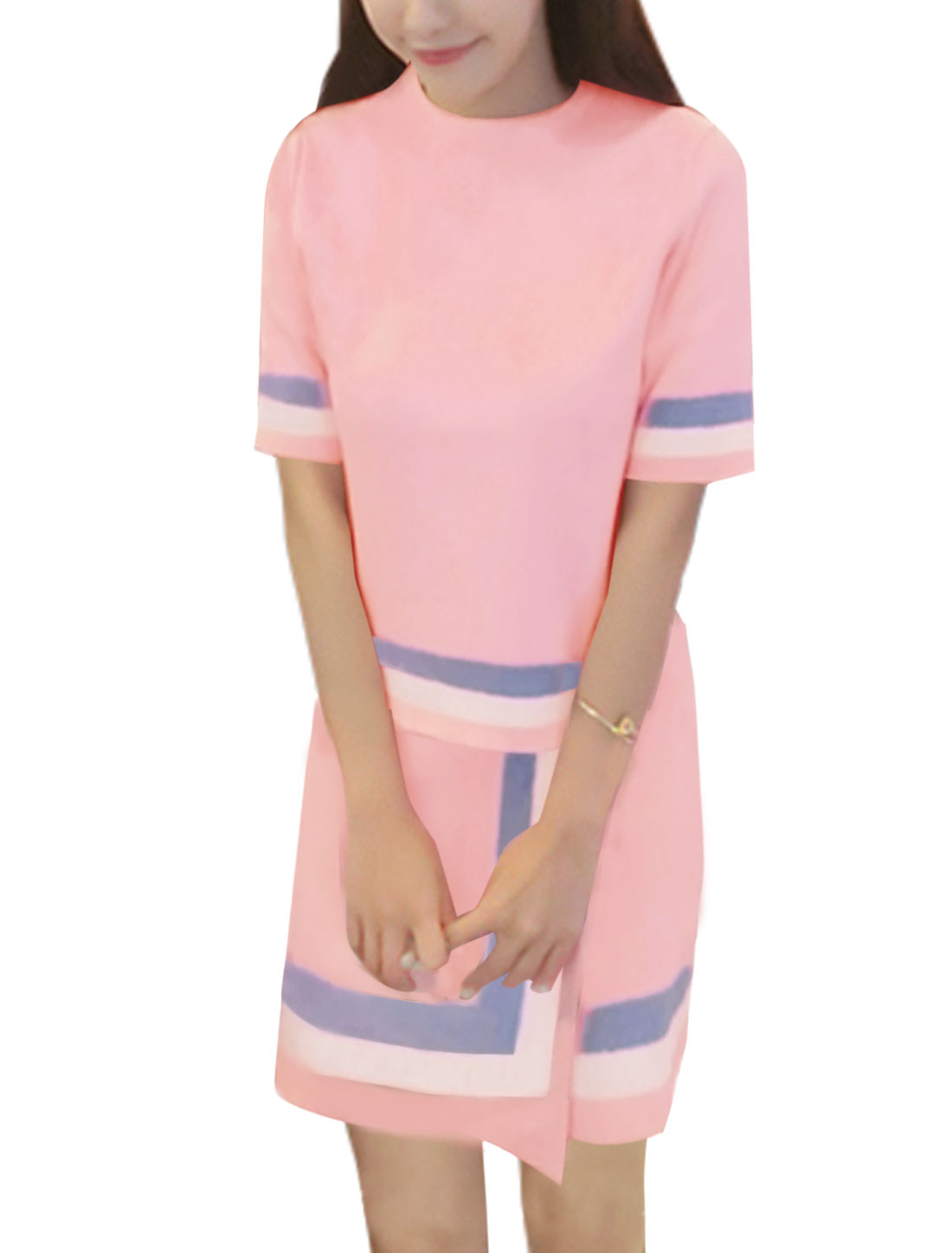 Women Contrast Color Knit Top w Over-Lay Knitted Skirt Sets Pink XS