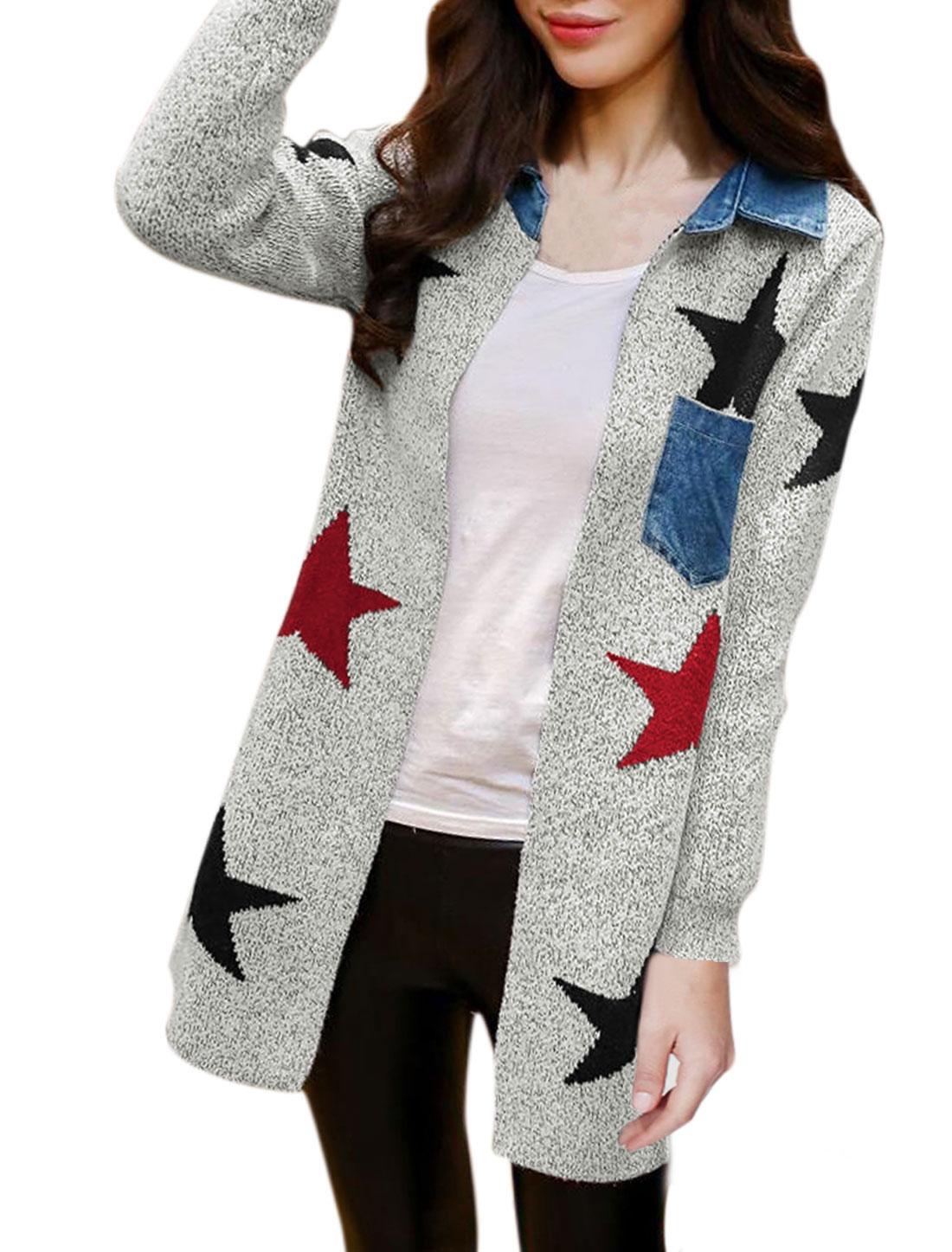 Woman Stars Pattern Denim Panel Long Sleeves Sweater Cardigan Gray M