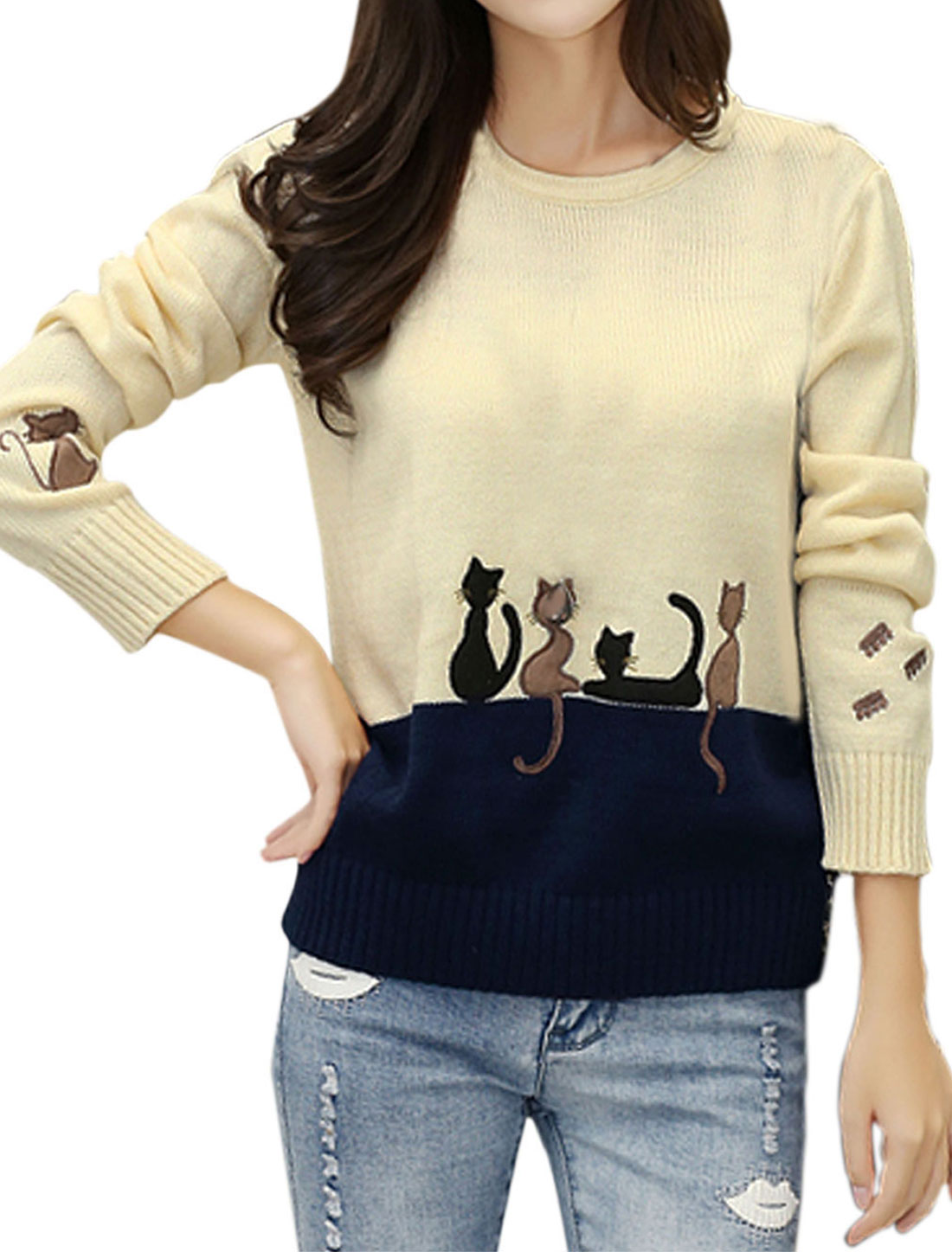Woman Cats Stitching Contrast Color Long Sleeves Knitwear Pullover Cream XS