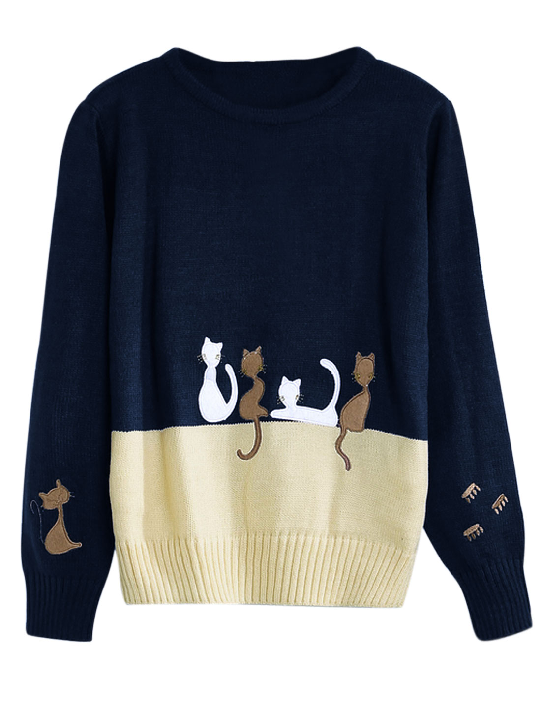 Woman Cats Stitching Contrast Color Round Neck Knitwear Pullover Navy Blue XS