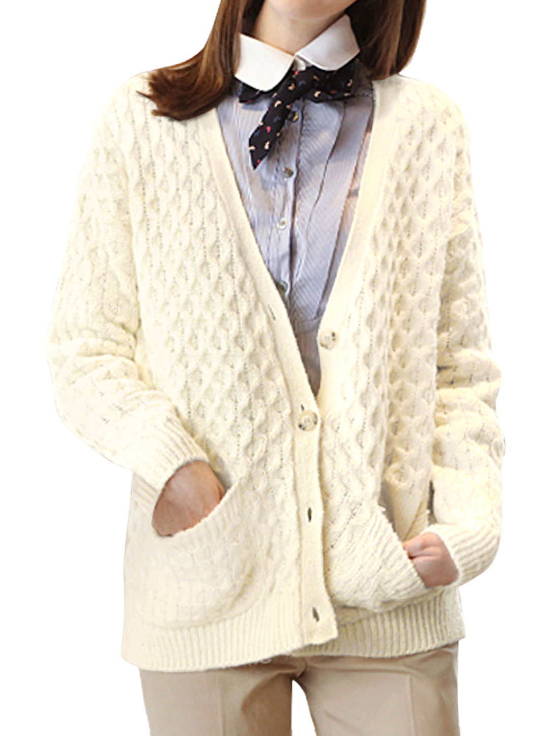 Ladies Long Sleeve Front Pockets High-Low Hem Button Closure Knit Cardigan Off White M