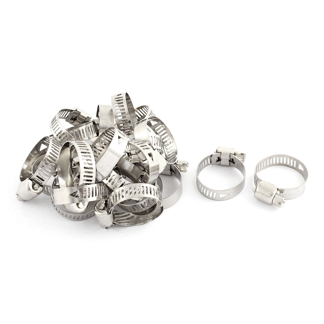 Adjustable 16-25mm Range Band Stainless Steel Wire Pipe Hose Clip Clamp 20 Pcs