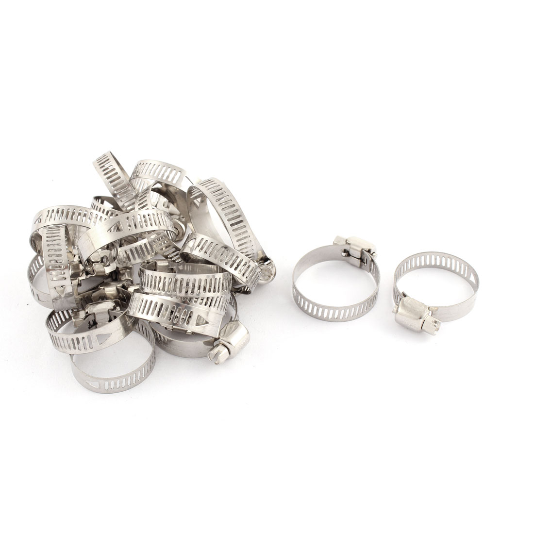 Adjustable 19-29mm Range Band Stainless Steel Wire Pipe Hose Clip Clamp 20 Pcs