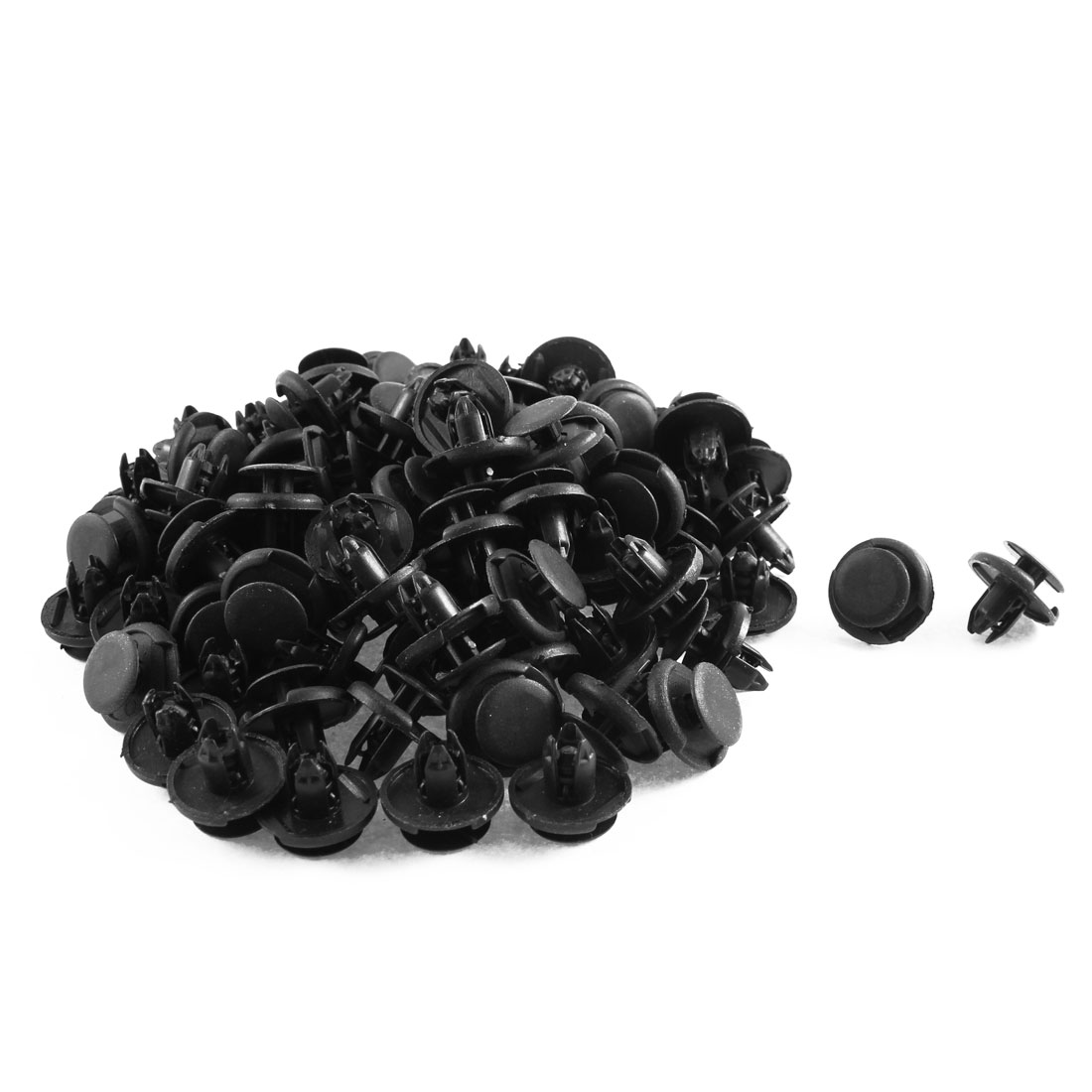 100 Pcs Black Plastic Splash Guard Fastener Mat Clips 8mm x 10mm x 19mm