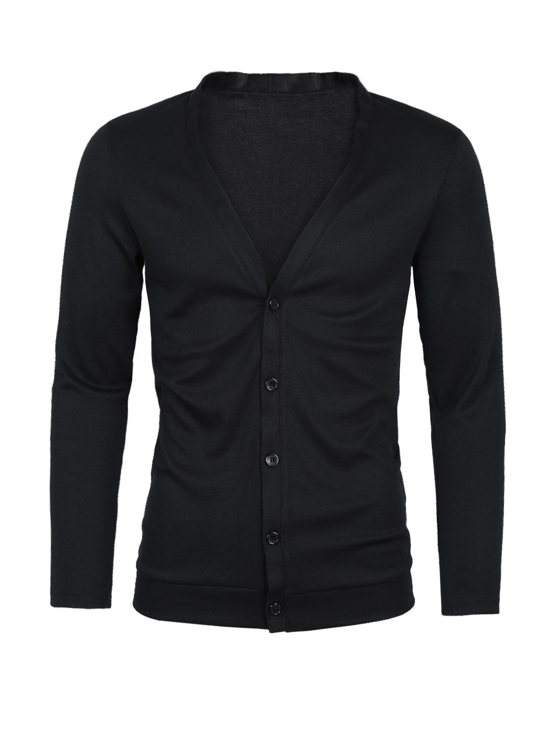 Men Deep V Neck Long Sleeve Button Down Slim Fit Cardigan Black L