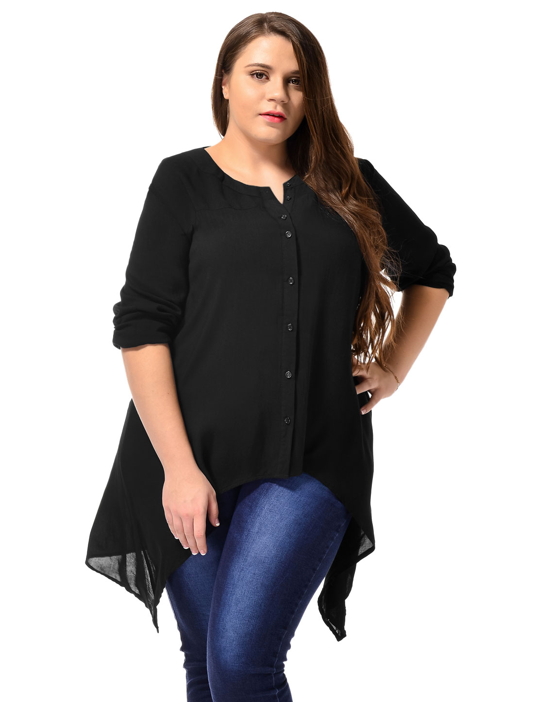 Ladies Long Sleeve Button Down Plus Size Casual Blouse Tunic Shirt Black 2X