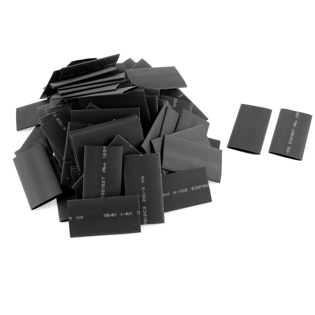 100pcs 16mm Dia Polyolefin 2:1 Heat Shrink Tubing Wire Wrap Sleeve 50mm Black