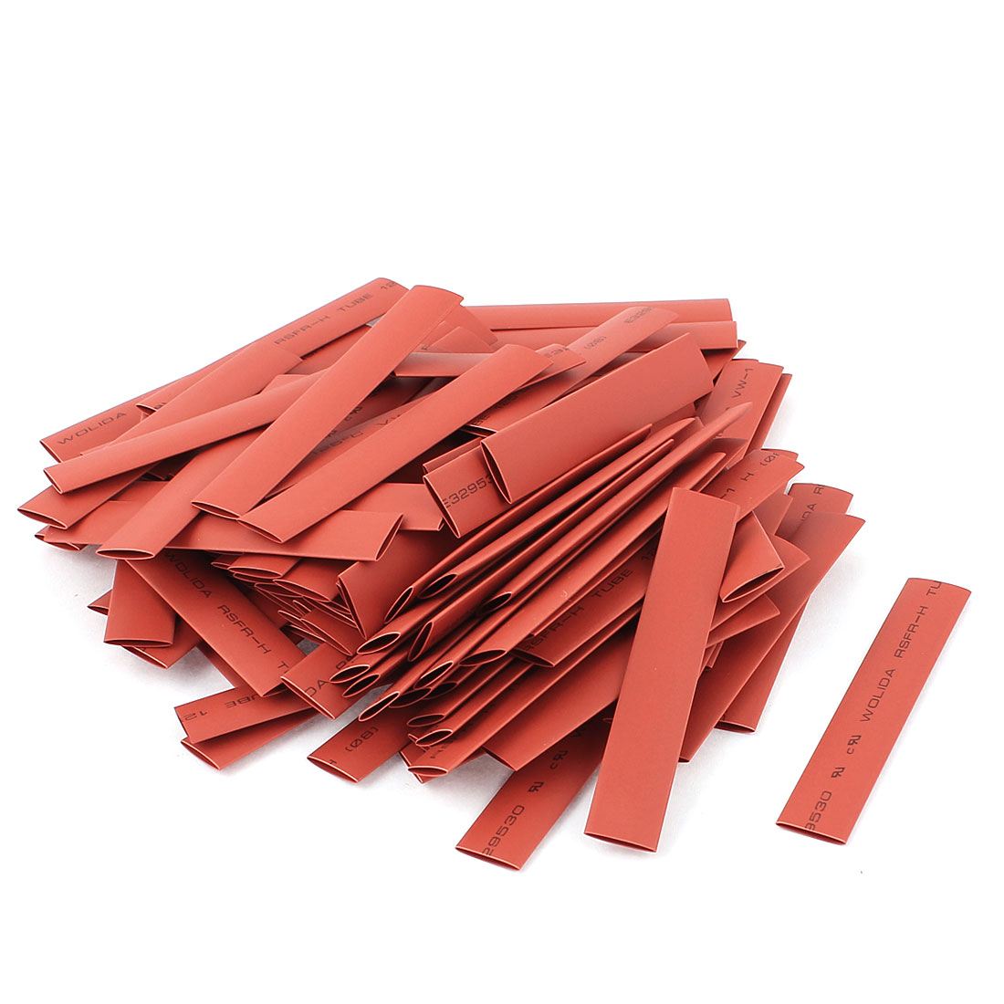100pcs 8mm Dia 80mm Long Polyolefin 2:1 Heat Shrink Tubing Wire Wrap Sleeve Red