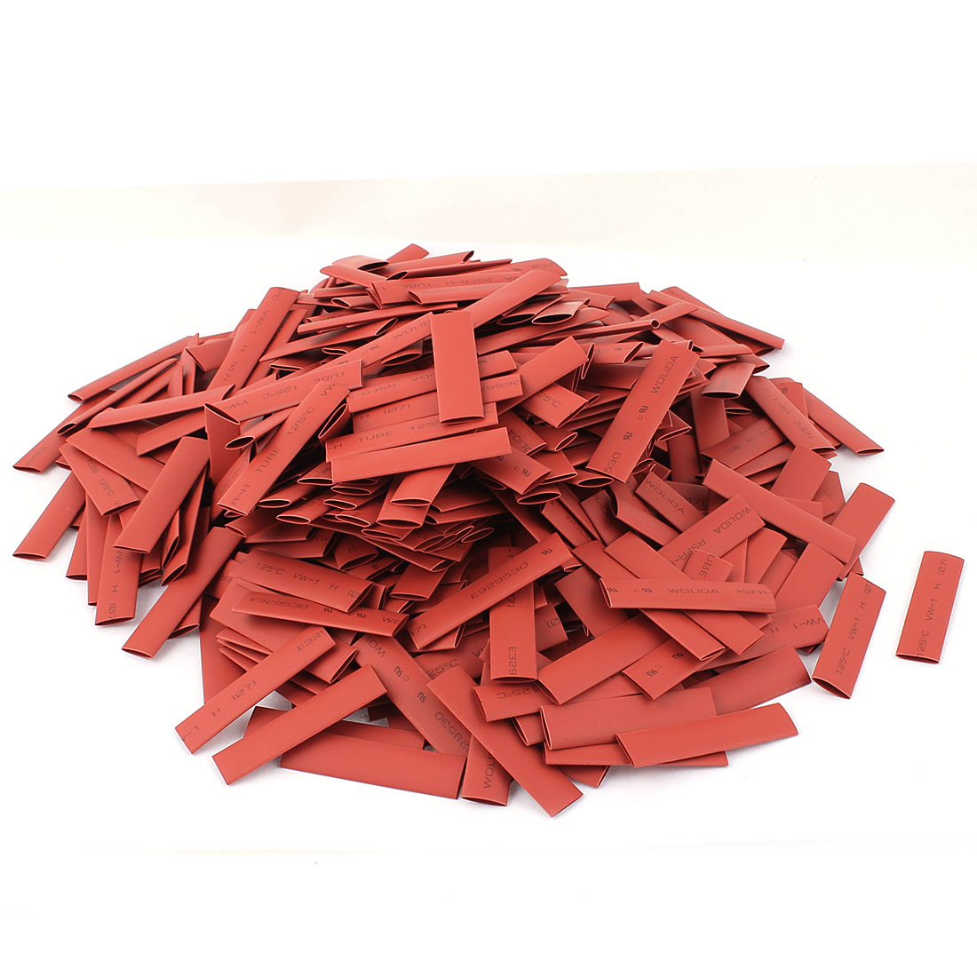 500pcs 7mm Dia 50mm Long Polyolefin 2:1 Heat Shrink Tubing Wire Wrap Sleeve Red