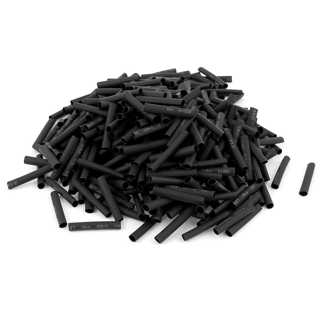 380pcs 3.5mm Dia 30mm Long Polyolefin Heat Shrink Tubing Wire Wrap Sleeve Black
