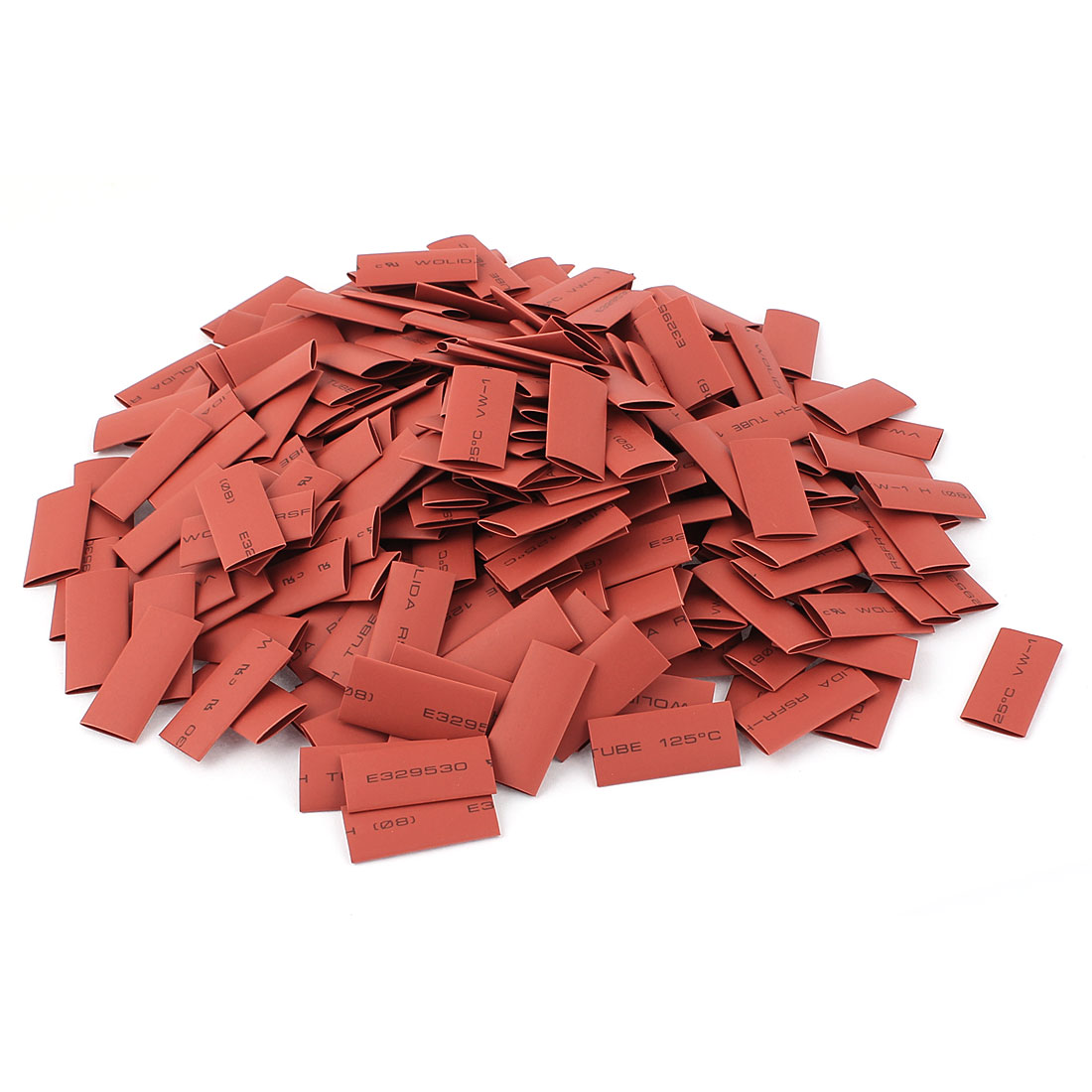 280pcs 8mm Dia 30mm Long Polyolefin 2:1 Heat Shrink Tubing Wire Wrap Sleeve Red