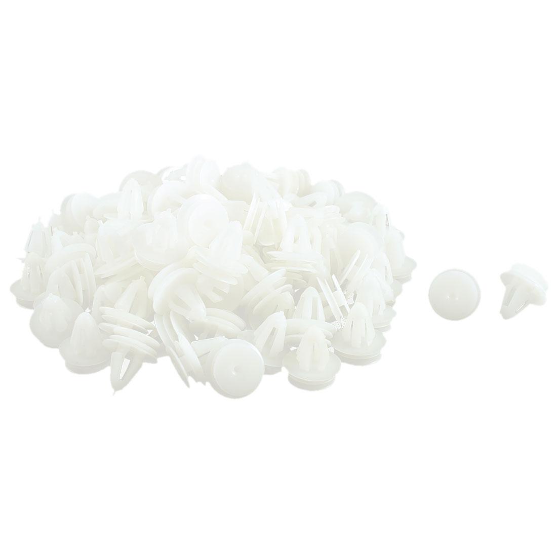 100 Pcs White Plastic Rivet Trim Fastener Retainer Clips 8.5mm Hole Dia