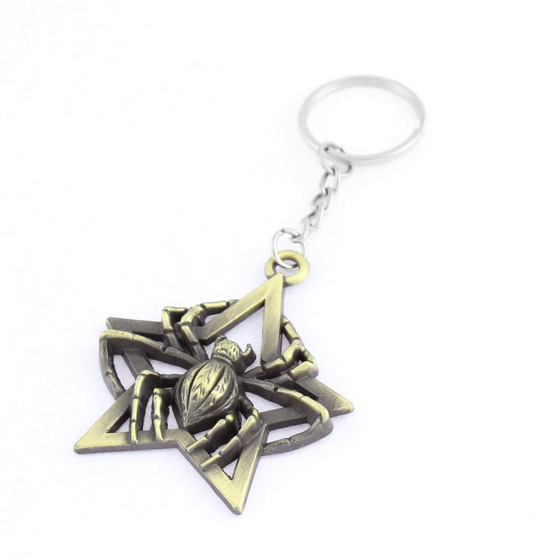 Retro Style Spider Star Designed Dangling Pendant Keychain Key Ring Bronze Tone