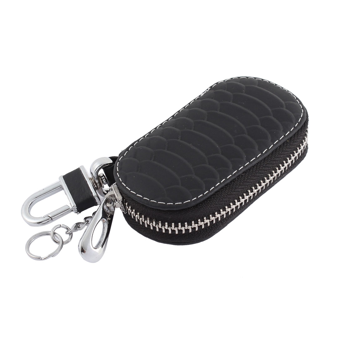 Faux Leather Fish Scale Pattern Zip-up Padlock Hook Car Key Pocket Holder Black
