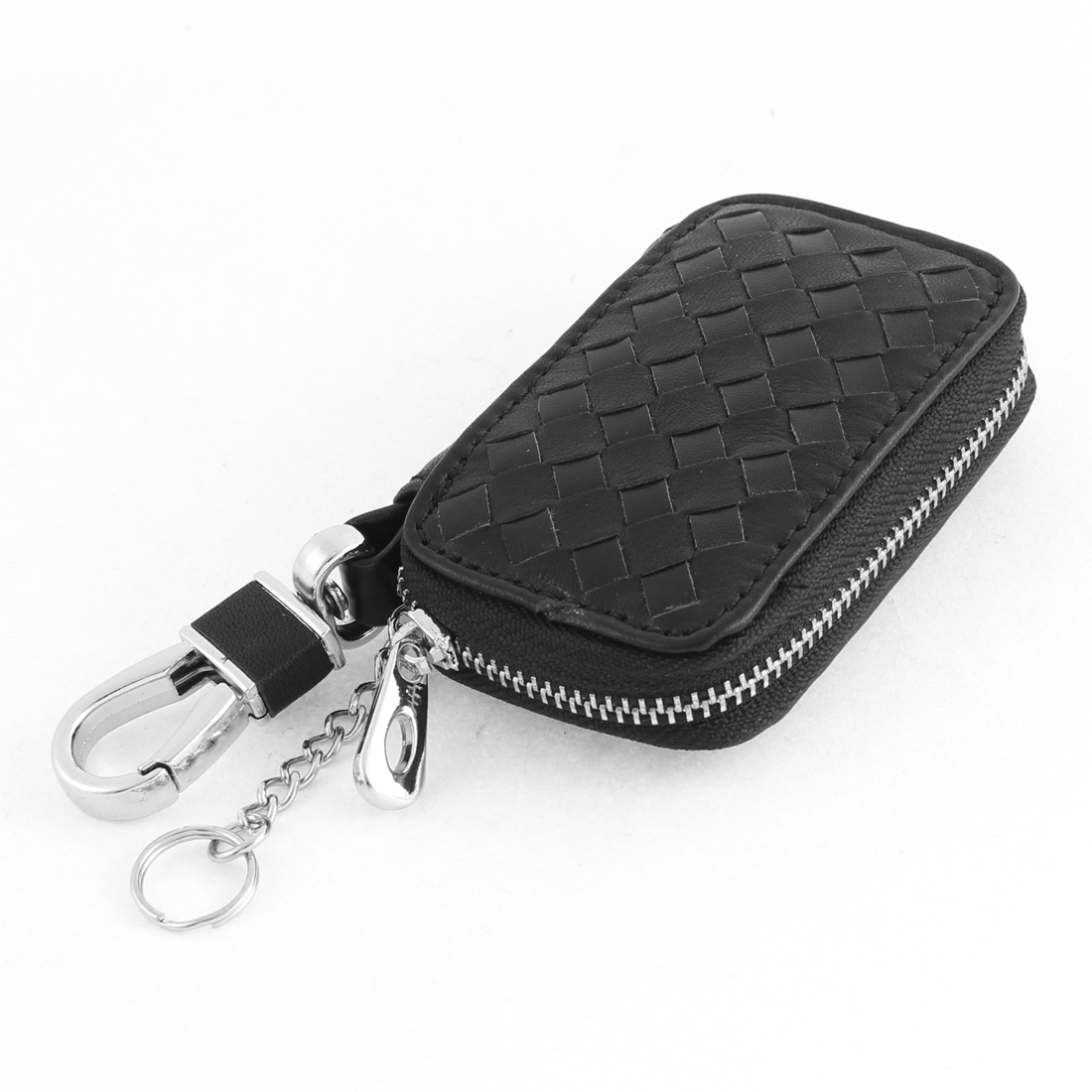 Black Faux Leather Grid Print Padlock Hook Car Key Holder Wallet Purse