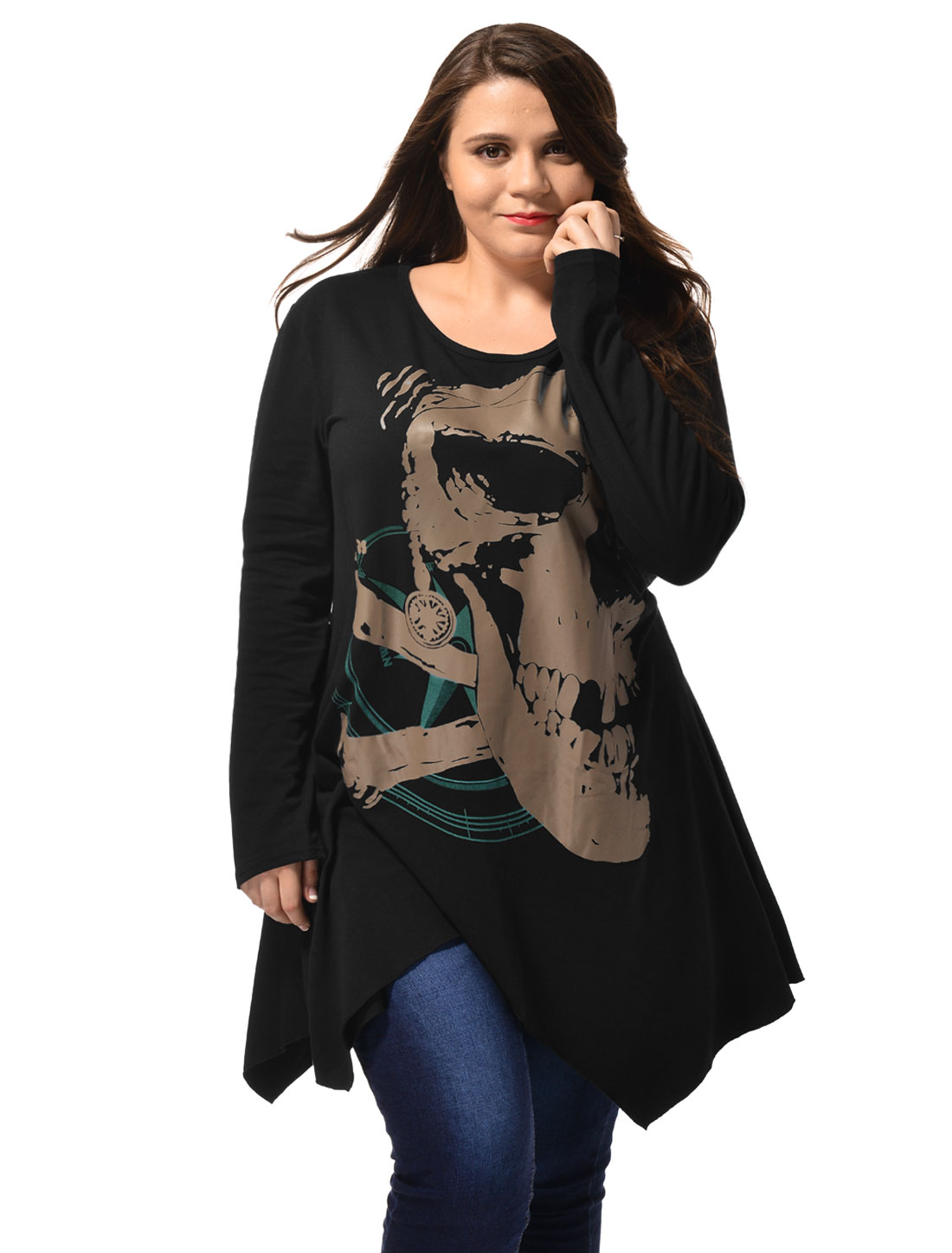 Women Long Sleeve Asymmetric Hem Skull Plus-Size Blouses Tee Top Black 3X